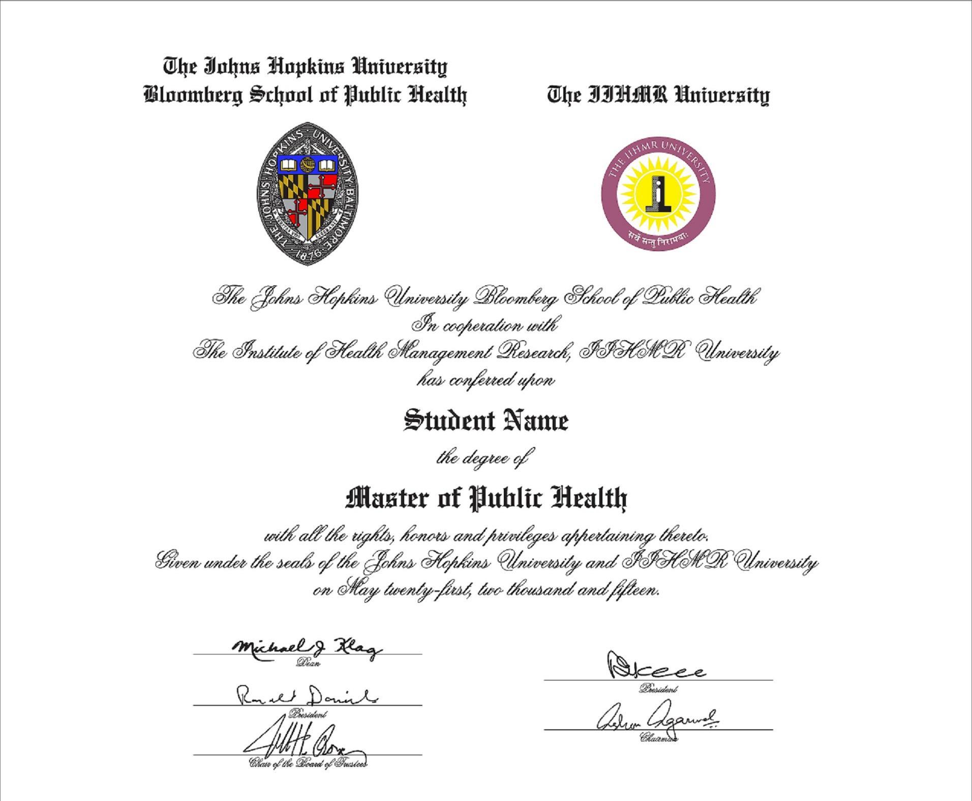 MPH from INDIA - Johns Hopkins University (IIHMR) - Public Health